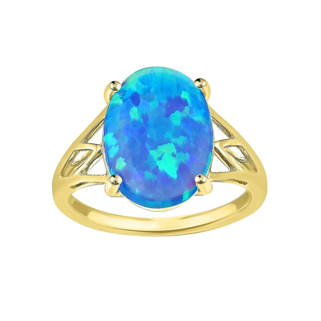 9ct Yellow Gold Oval Created Opal Split Shoulder Ring Rings Bevilles