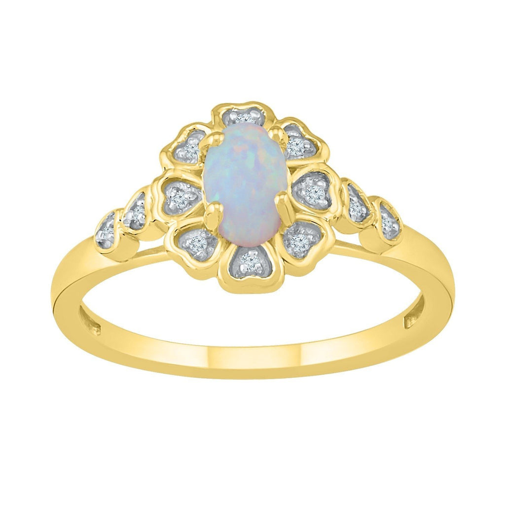 9ct Yellow Gold Created Opal Diamond Set Ring Rings Bevilles
