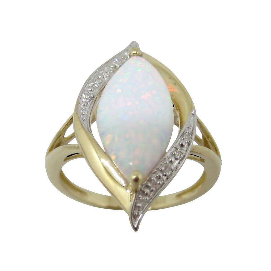 9ct Yellow Gold Created Opal and Diamond Ring