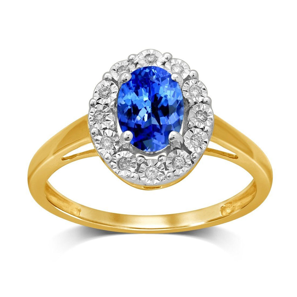 9ct Yellow Gold Diamond Set Tanzanite Ring Rings Bevilles