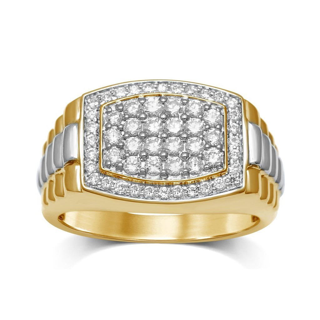 9ct Yellow Gold 1.00ct Diamonds Mens Ring