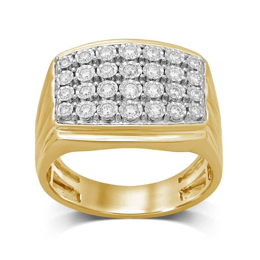 Mens Ring with 1/2ct of Diamonds in 9ct Yellow Gold