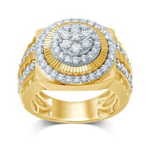 Men's Fancy Ring with 1.50ct of Diamonds in 9ct Yellow Gold