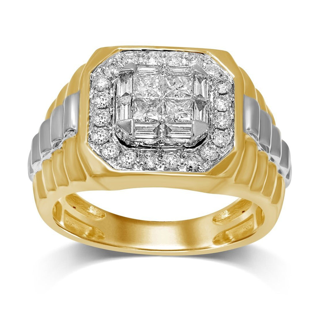 10ct Yellow Gold Men's Ring with 1.25ct of Diamonds