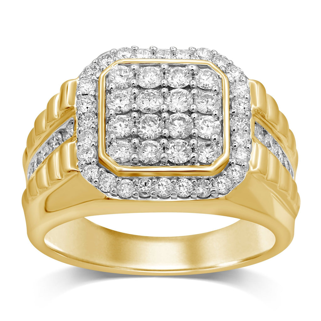 Brilliant Claw Square Look Ring with 1.50ct of Diamonds in 9ct Yellow Gold