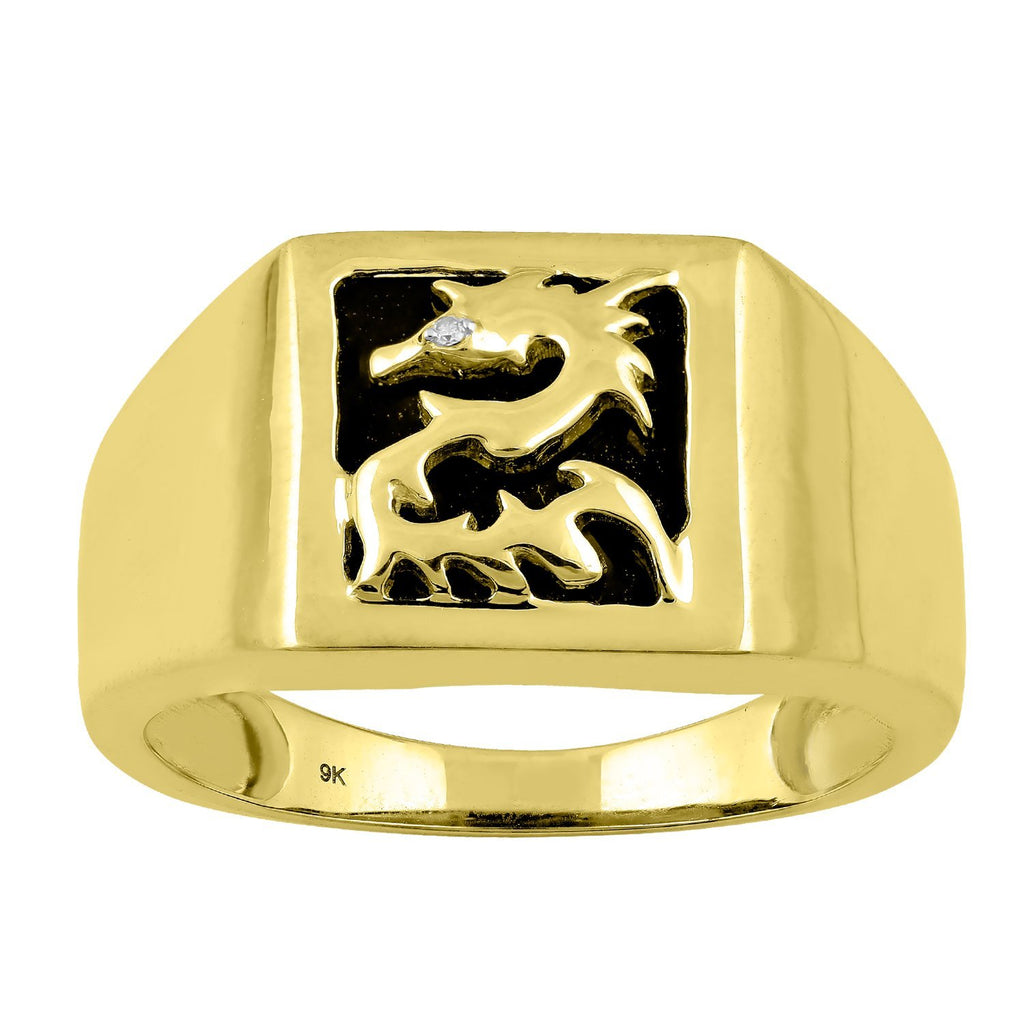 Men's Diamond Set Dragon Onyx Ring in 9ct Yellow Gold