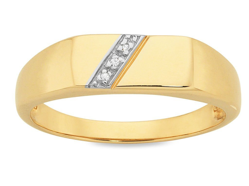 Men's Diamond Set Ring in 9ct Yellow Gold