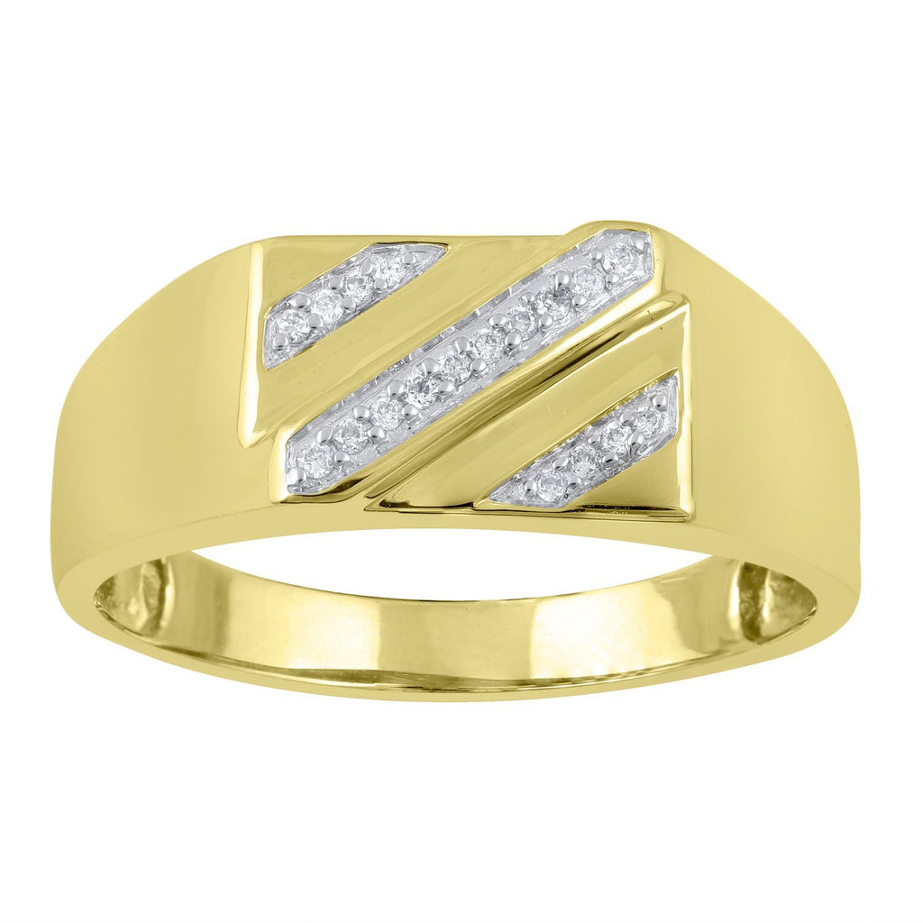 Men's Ring with 0.10ct of Diamonds in 9ct Yellow Gold Rings Bevilles