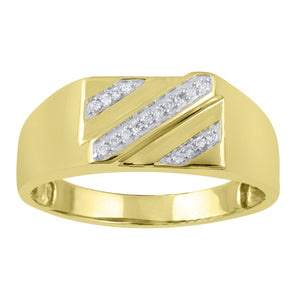 Men's Ring with 0.10ct of Diamonds in 9ct Yellow Gold