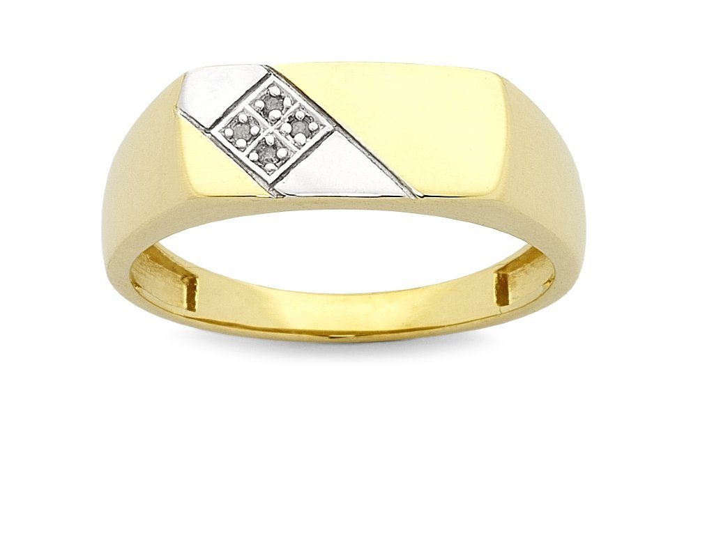 Men's Diamond Set Tablet Ring in 9ct Yellow Gold Rings Bevilles