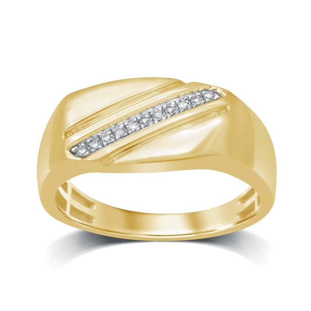 9ct Yellow Gold 0.05ct Diamond Diagonal Mens Ring