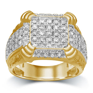 Men's Ring with 2.00ct of Diamonds in 9ct Yellow Gold