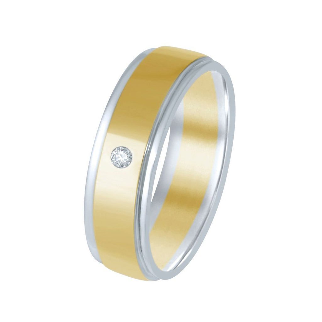 9ct Two Toned Gold Single Diamond Mens Ring