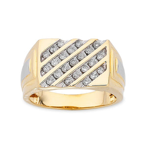 9ct Yellow Gold Mens DiamondRing