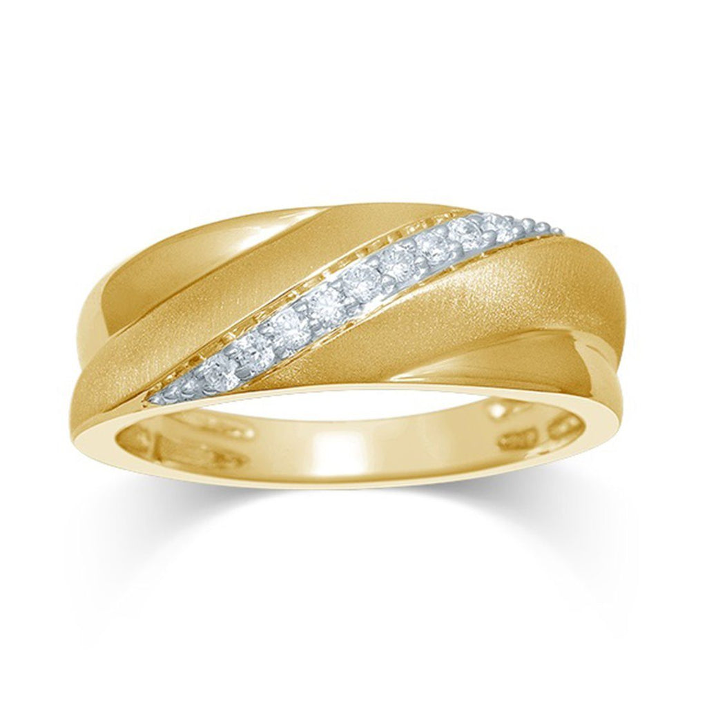 9ct Yellow Gold 0.15ct Diamond Mens Ring