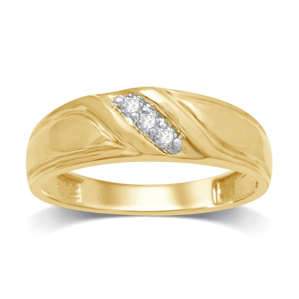 9ct Yellow Gold 0.10ct Diamond Mens Ring