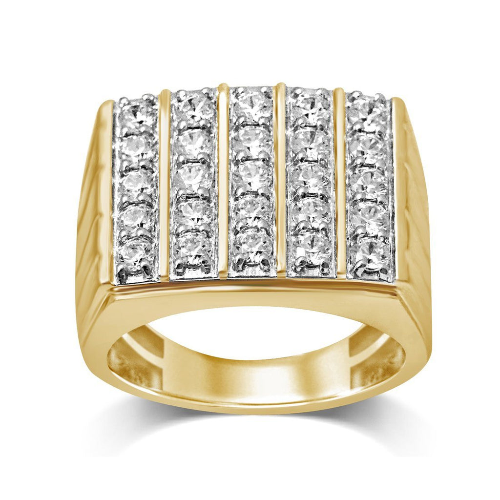 Five Row Mens Ring with 1.75ct of Diamonds in 9ct Yellow Gold