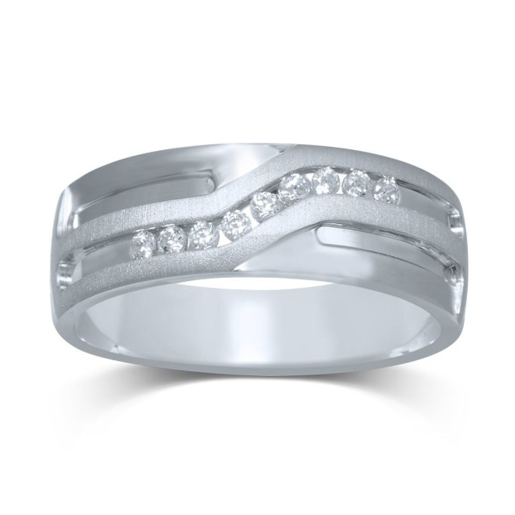 9ct White Gold Mens Diamond Ring