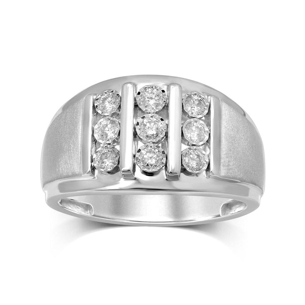 9ct White Gold 0.50ct Diamond 3 Row Men's Ring