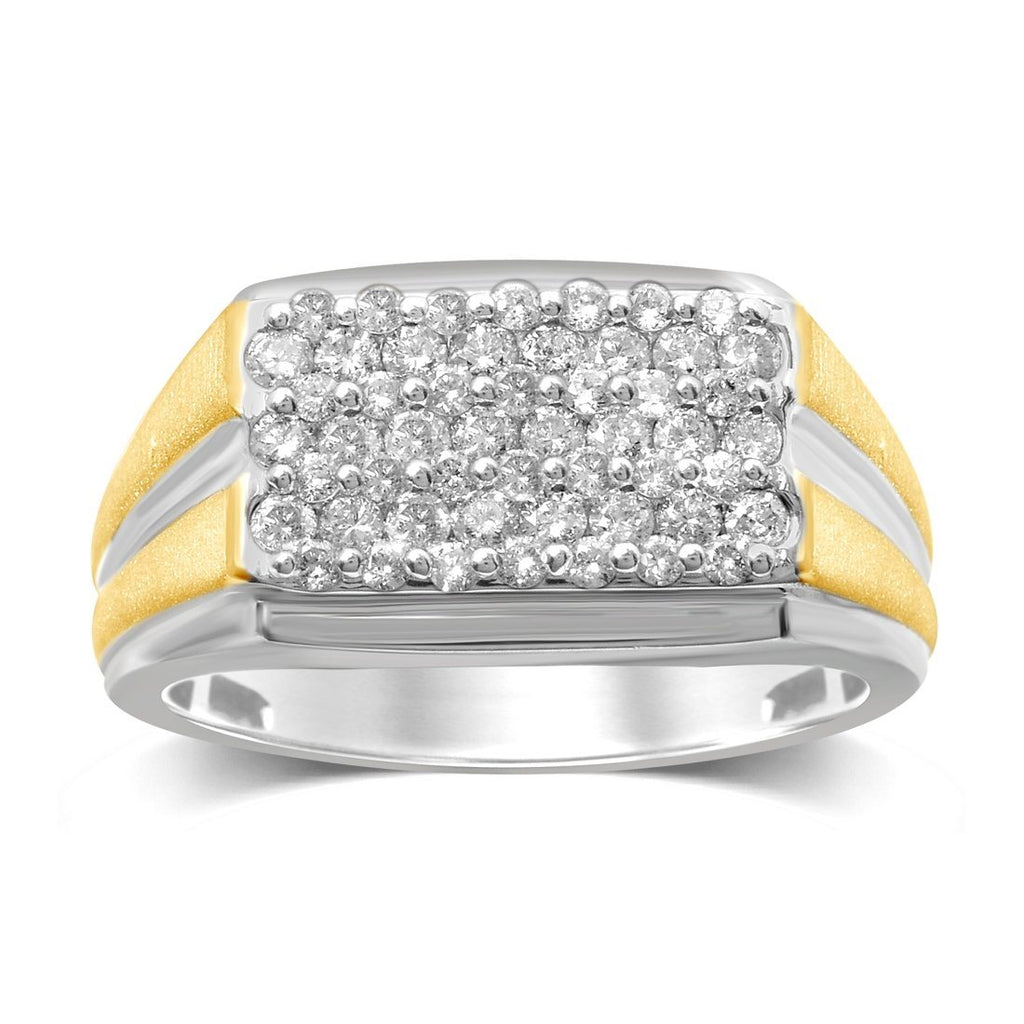 9ct White & Yellow Gold 1.00ct Diamond Mens Ring Rings Bevilles
