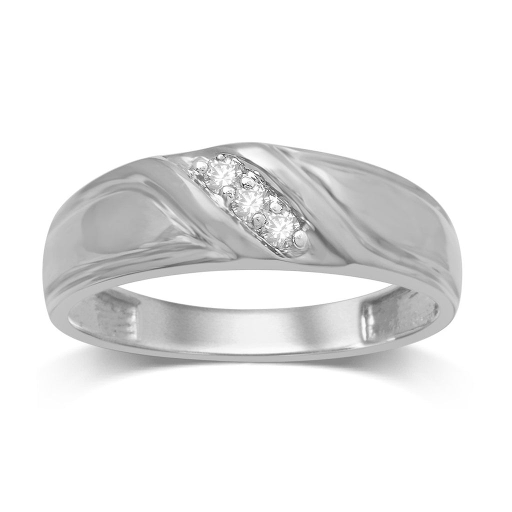 9ct White Gold 0.10ct Diamond Mens Ring