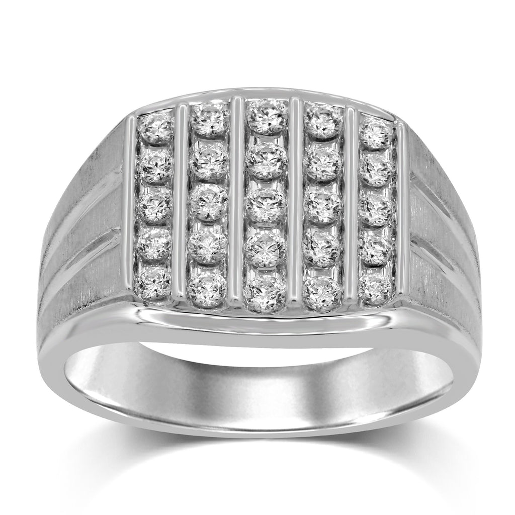 Brilliant Channel Five Row Mens Ring with 3/4ct of Diamonds in 9ct White Gold