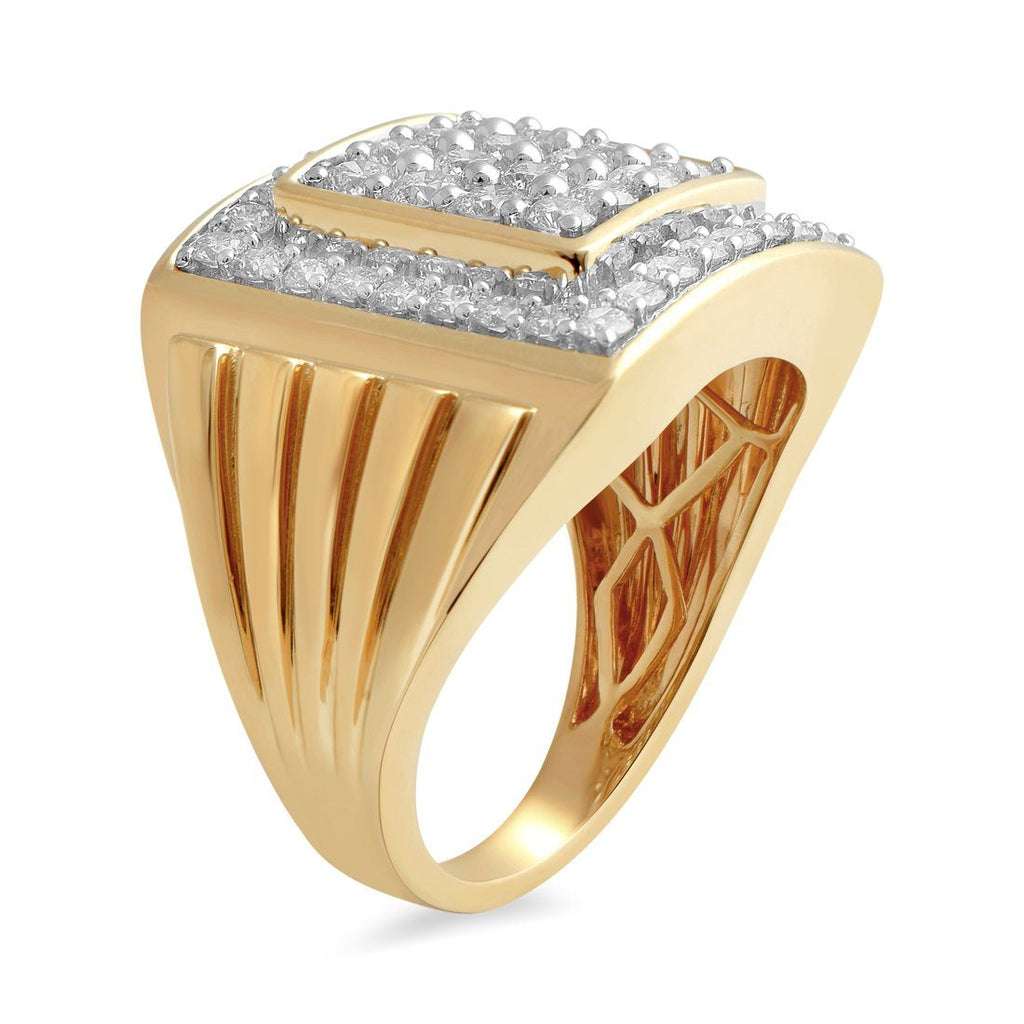 9ct Yellow Gold 2.00ct Diamond Square Look Mens Ring