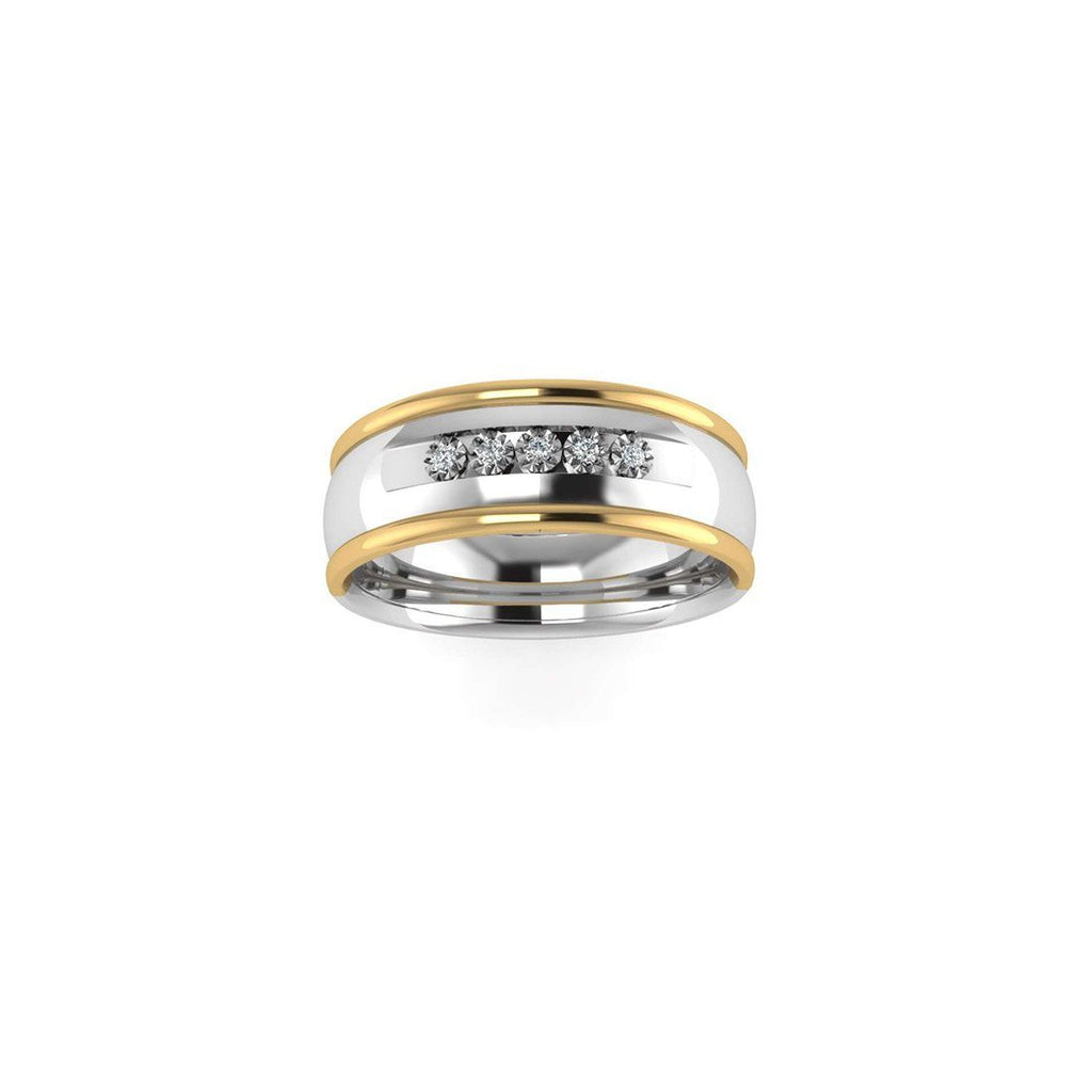 Sterling Silver & 9ct Yellow Gold Men's Ring