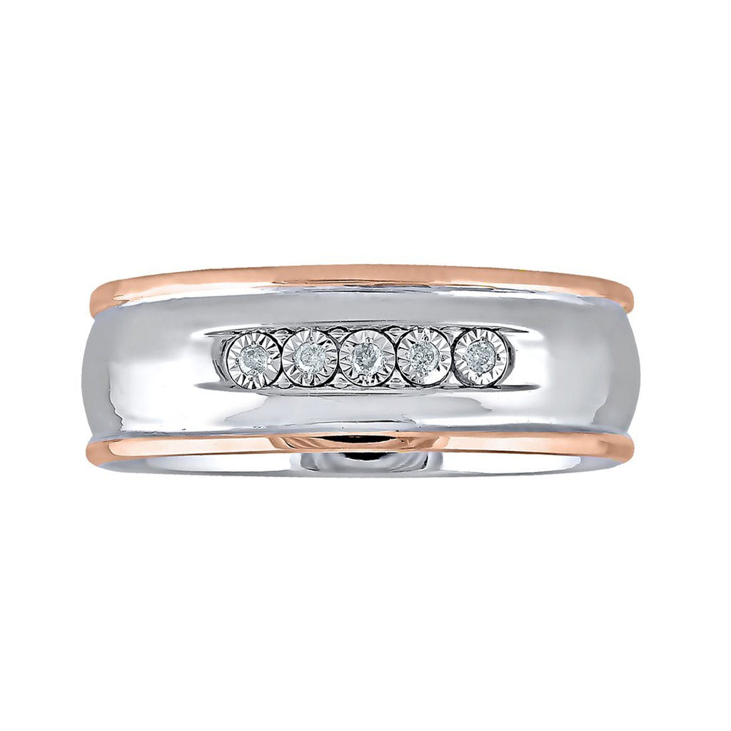 Sterling Silver Mens Ring with Rose Gold and Diamond Features