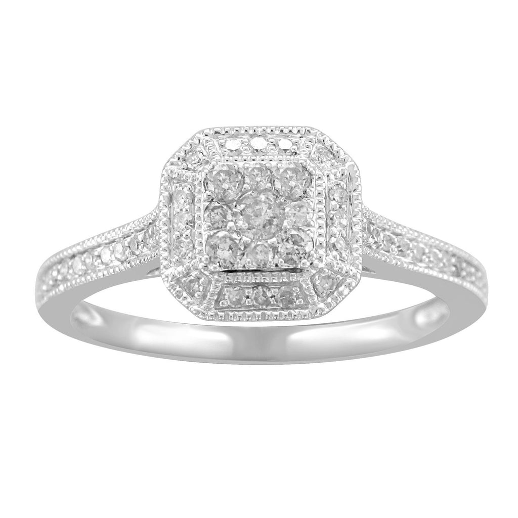 9ct White Gold & Diamond Ring