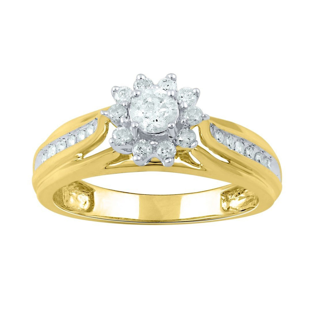 9ct Yellow Gold 0.41ct Diamond Brilliant Flower Ring