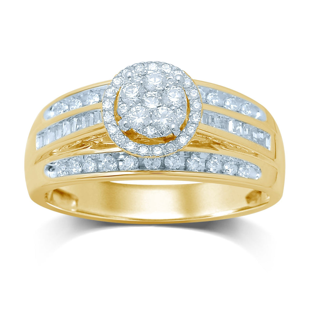 9ct Yellow Gold Halo Ring with 0.57ct of Diamonds Rings Bevilles