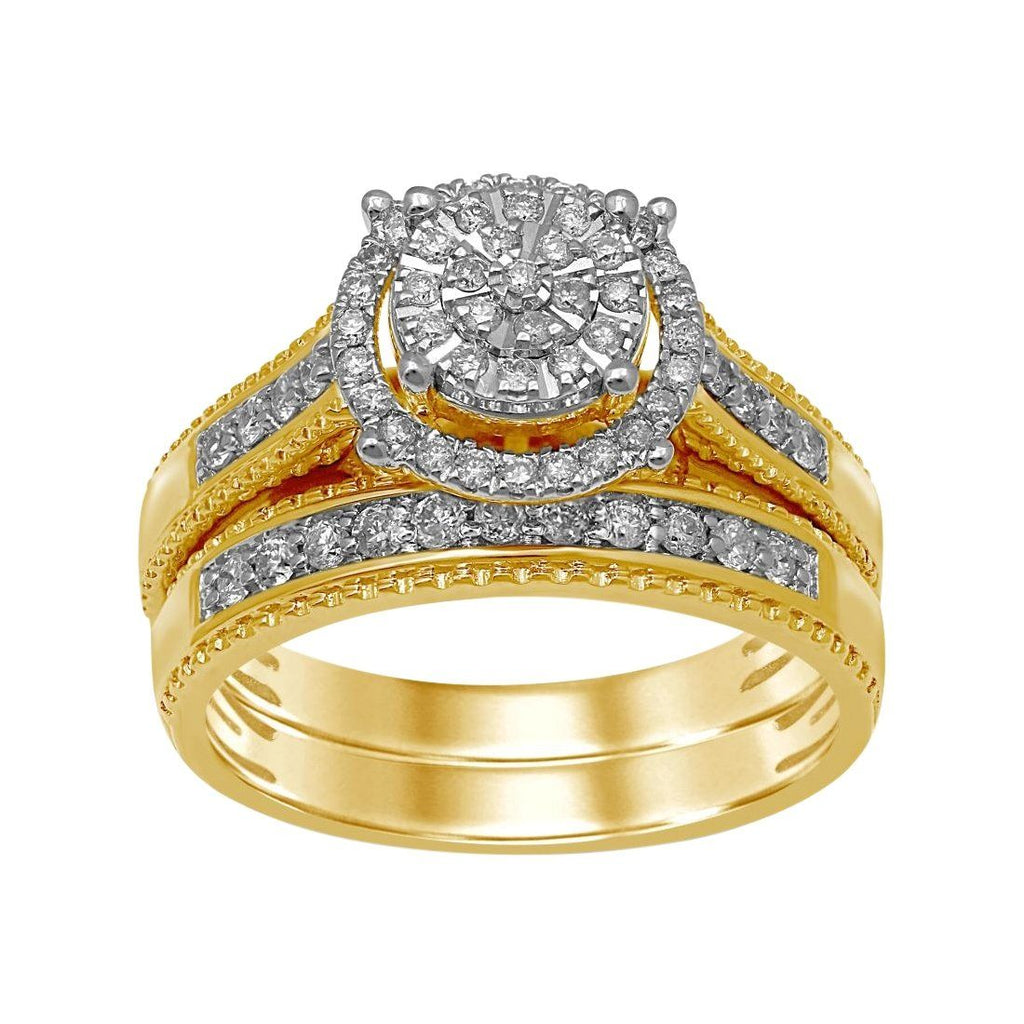 Martina Solitaire Look Halo Ring with 1/2ct of Diamonds in 9ct Yellow Gold Rings Bevilles