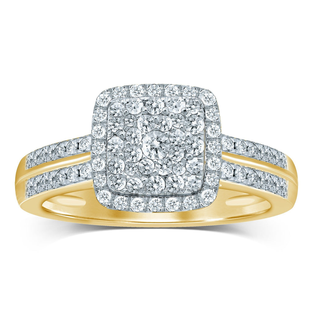 Brilliant Set Ring with 1/2ct of Diamonds in 9ct Yellow Gold