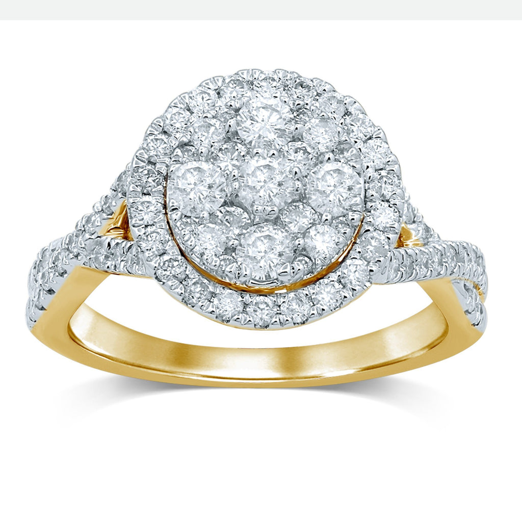Brilliant Claw Flower with Halo and Crossover Ring with 1.00ct of Diamonds in 9ct Yellow Gold Rings Bevilles