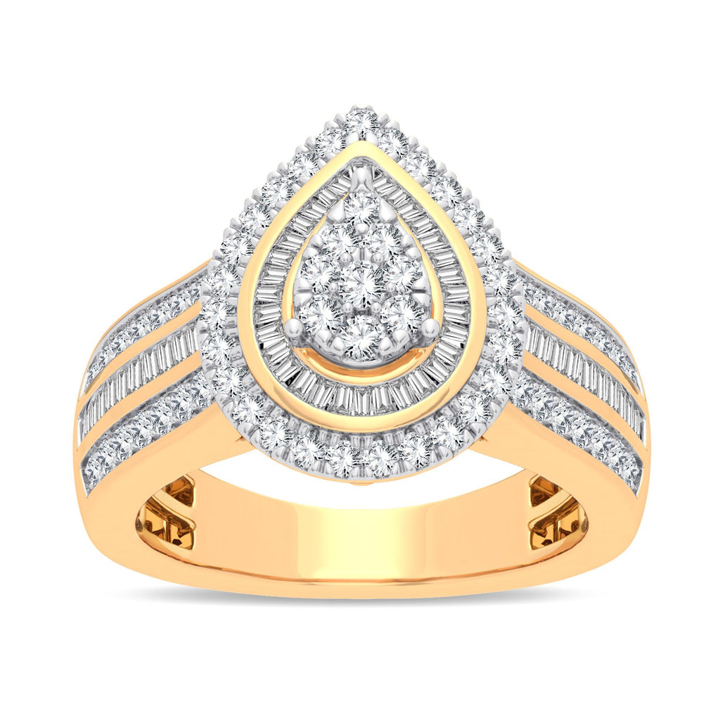 Pear Halo Ring with 1.00ct of Diamonds in 9ct Yellow Gold Rings Bevilles
