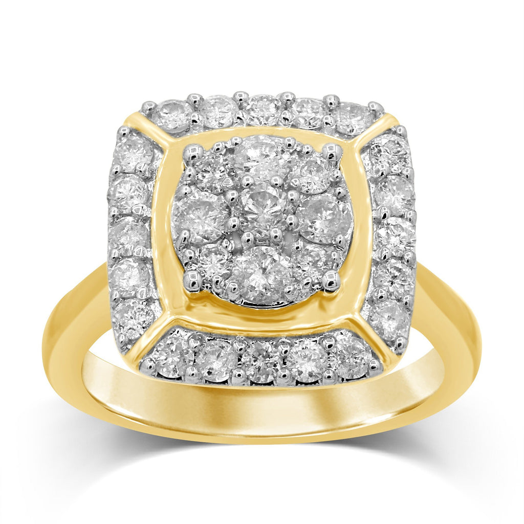 Brilliant Halo Square Look Ring with 1.00ct of Diamonds in 9ct Yellow Gold Rings Bevilles