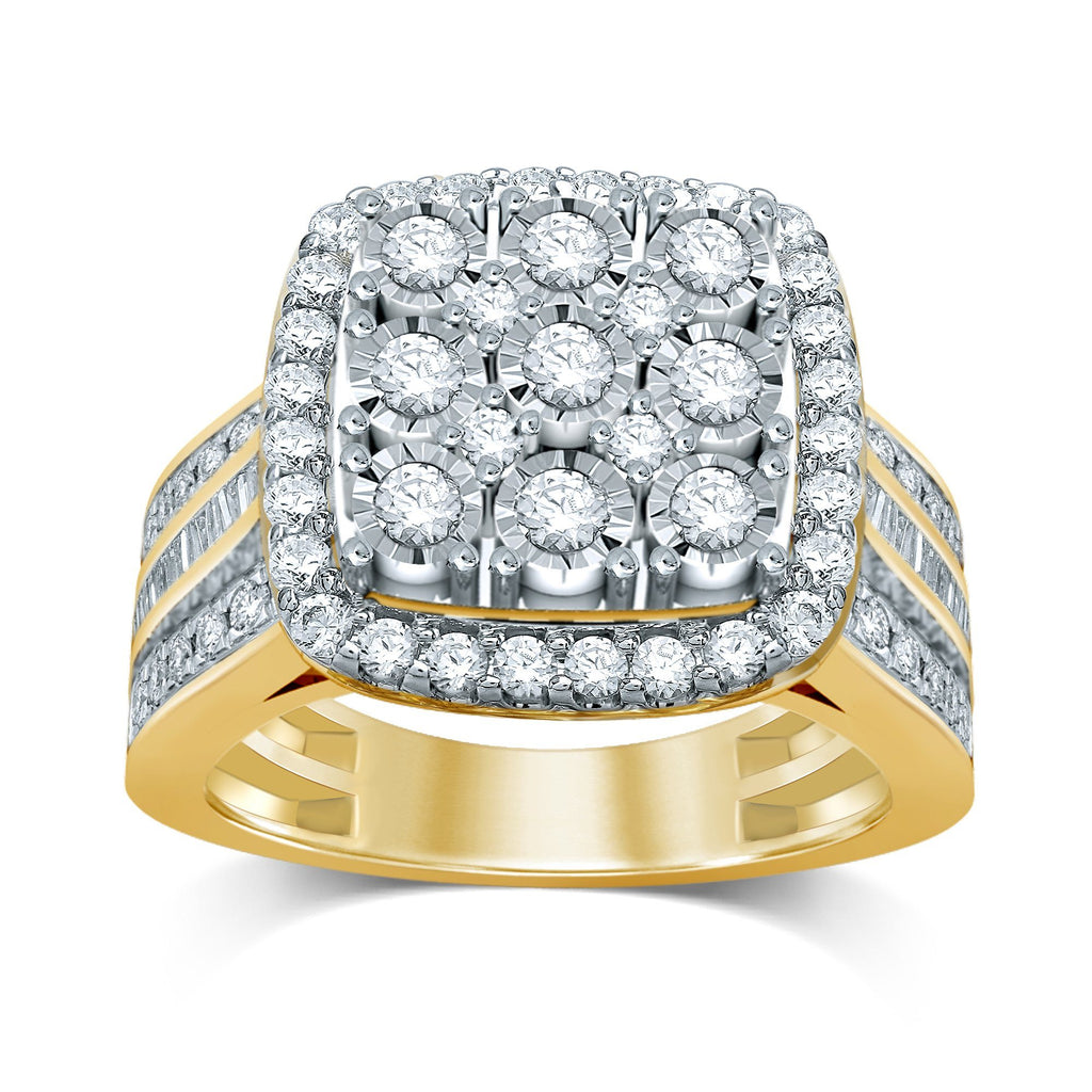 Brilliant Square Look Ring with 1.00ct of Diamonds set in 9ct Yellow Gold Bevilles Jewellers