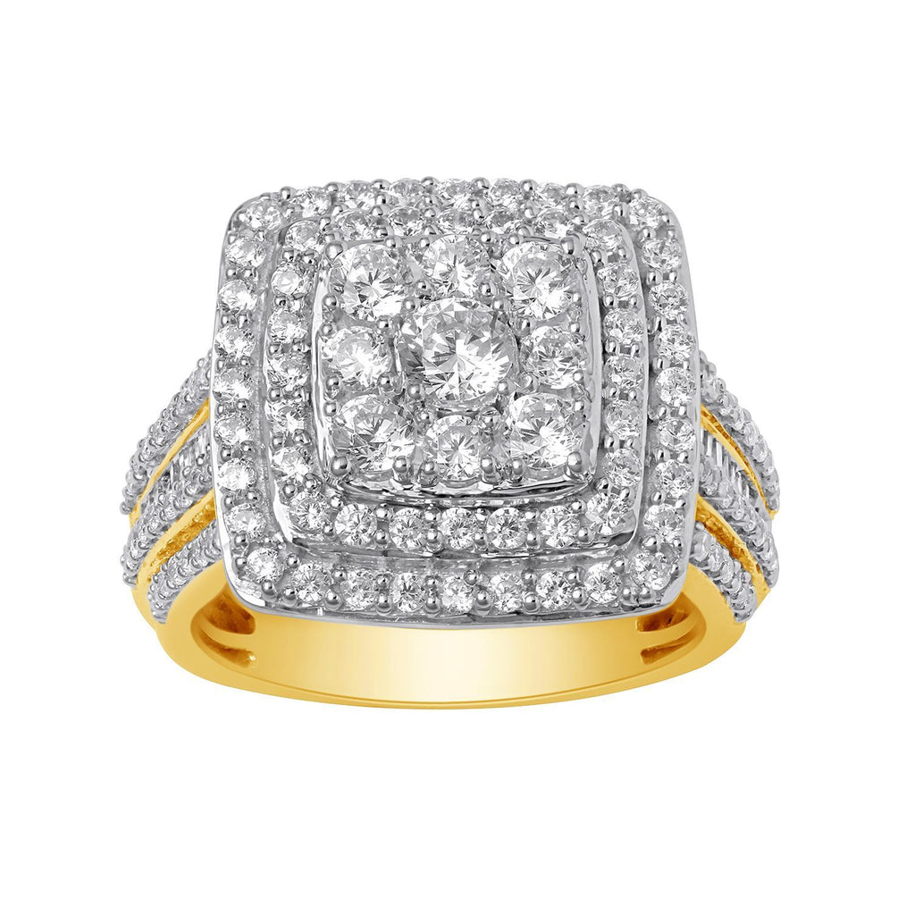 Brilliant Channel Halo Ring with 2.00ct of Diamonds in 9ct Yellow Gold Rings Bevilles