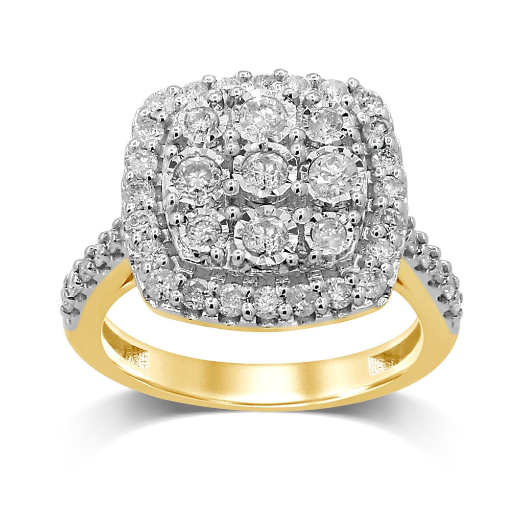 Miracle Halo Square Ring with 1.00ct of Diamonds in 9ct Yellow Gold Rings Bevilles