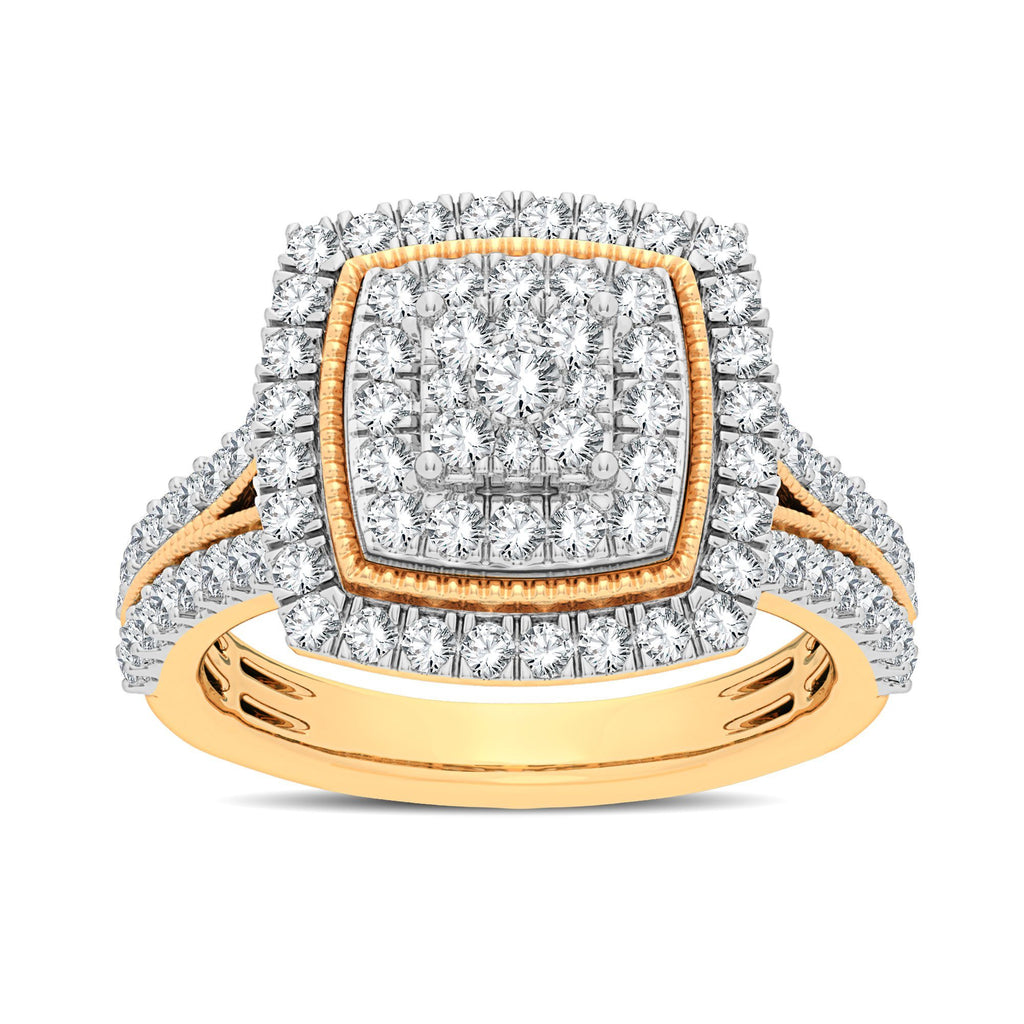 Square Look Halo Ring with 1.00ct of Diamonds in 9ct Yellow Gold Rings Bevilles