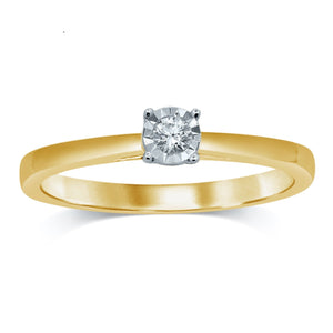 Miracle Diamond Solitaire Ring in 9ct Yellow Gold