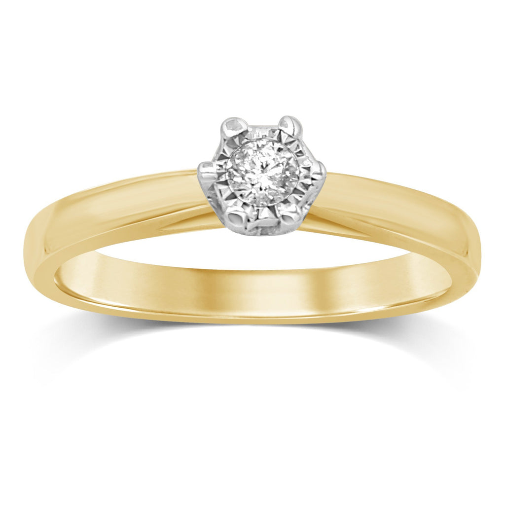 Brilliant Illusion Solitaire Miracle Ring with 0.10ct Diamonds in 9ct Yellow Gold Rings Bevilles