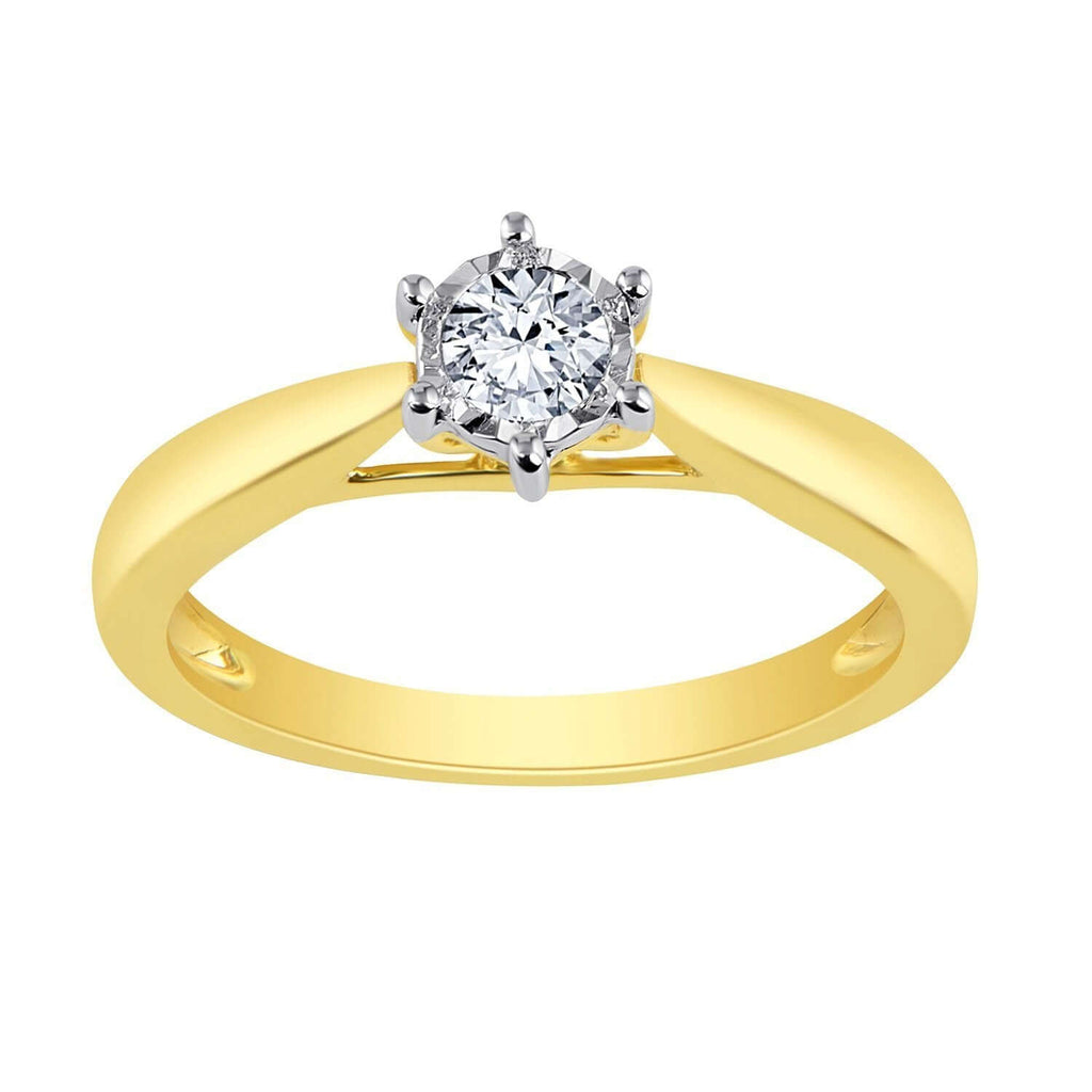 0.20ct Brilliant Solitaire Diamond Ring in 9ct Yellow Gold Rings Bevilles