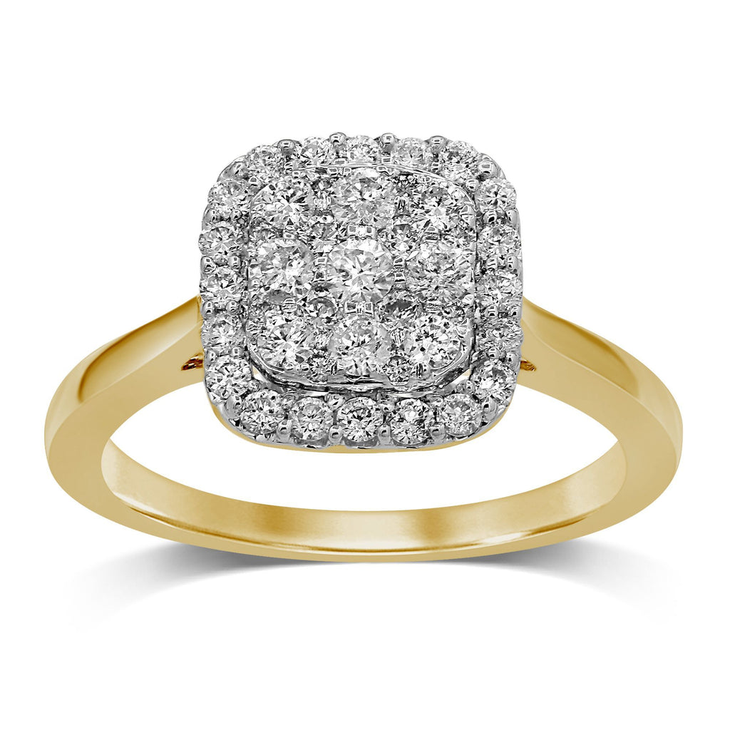 Brilliant Square Look Ring with 0.60ct of Diamonds in 9ct Yellow Gold