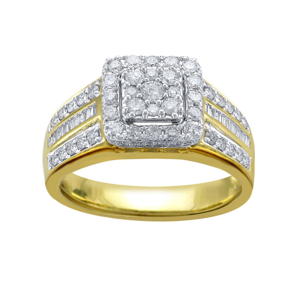 Halo Square Look Ring with 0.85ct of Diamonds in 9ct Yellow Gold Rings Bevilles