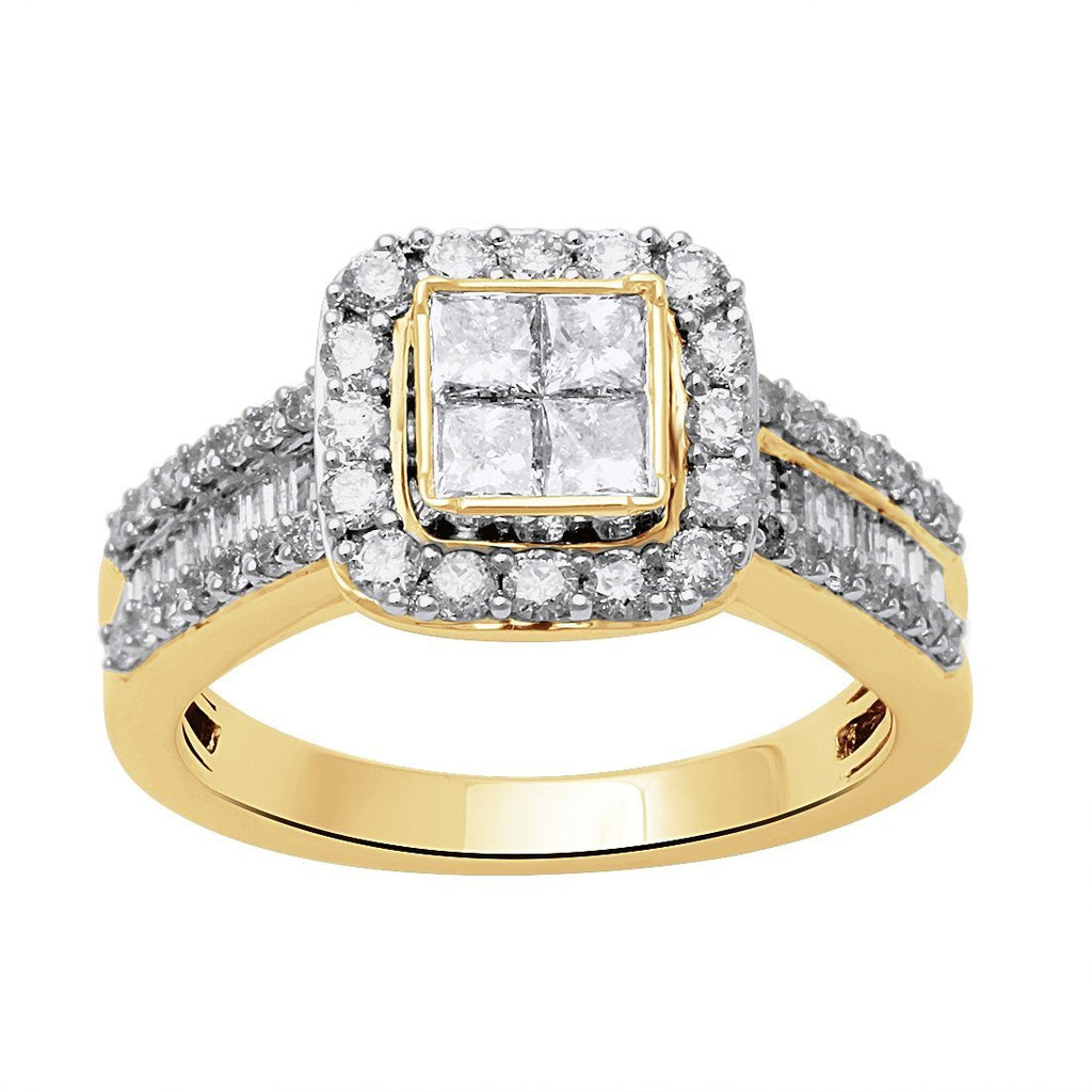 9ct Yellow Gold 1.25ct Invisible Princess Diamond Ring