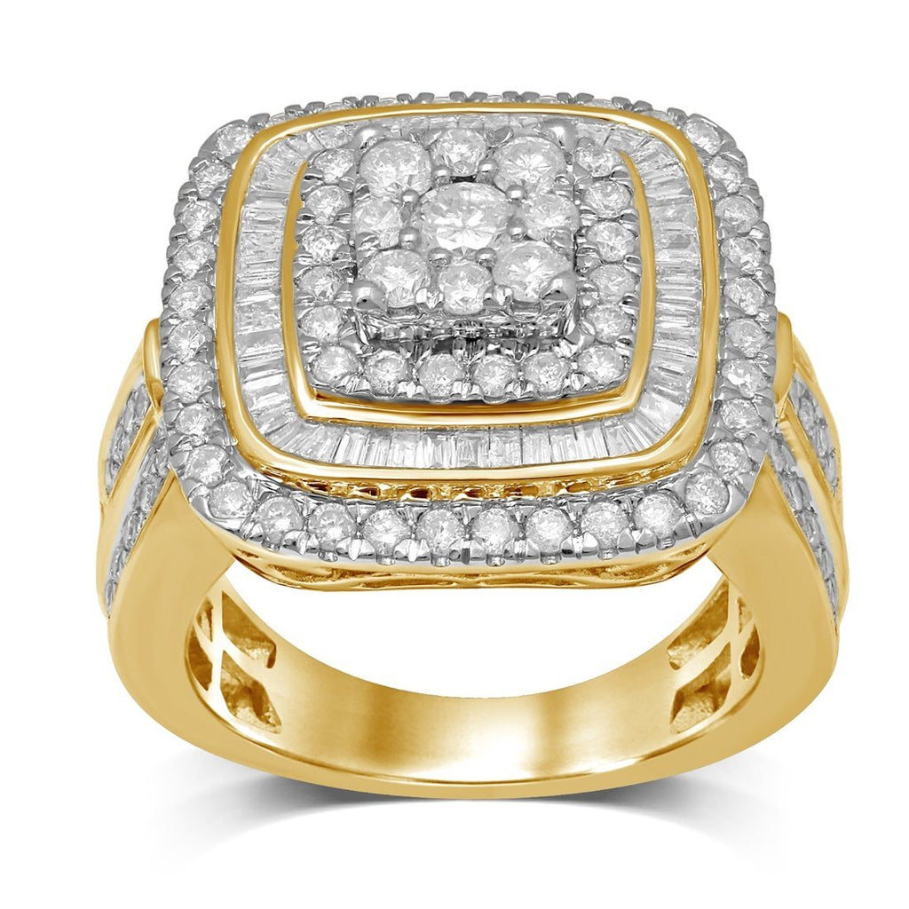 Double Halo Square Ring with 1.90ct of Diamonds in 9ct Yellow Gold Rings Bevilles