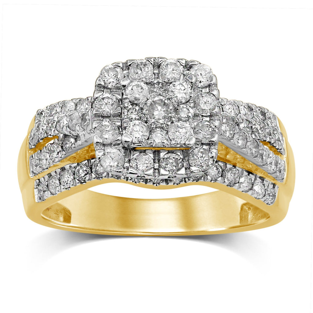 Brilliant Square Fancy Ring with 1.00ct of Diamonds in 9ct Yellow Gold