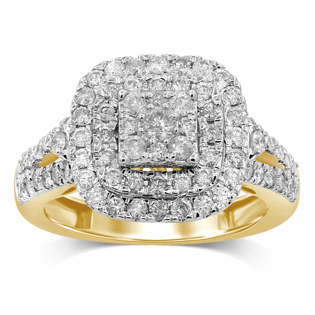 Brilliant Square Cluster Ring with 1.00ct of Diamonds in 9ct Yellow Gold
